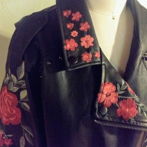 Rose embroidered faux leather jacket